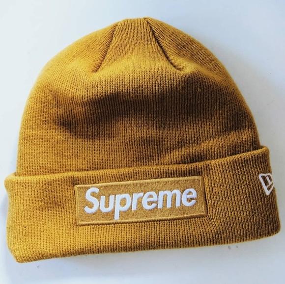 4f27b9a19bd19d Supreme New Era Box Logo Beanie in Mustard Yellow.  M_5c5f701ac9bf50516d4e8d97. Other Accessories ...